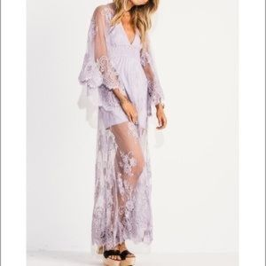 HIPPIE PROM DRESS. Purple ethereal lace.